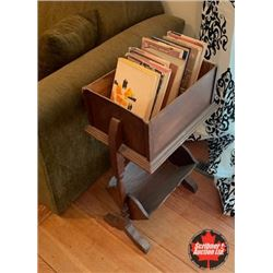 Magazine Rack w/Small Selection of Hardcover Books