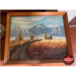"Framed Art ""Mountain/Crop Scene"""