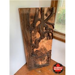Hand Carved Wood Art Panel