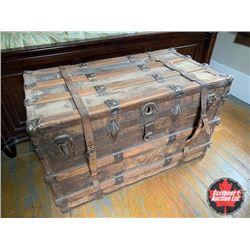Wood Slat Steamer Trunk