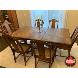 Dining Room Table & 6 Chairs & 1 Leaf