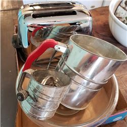Tray Lot: Stainless Toaster, Sifter & Mixing Bowl