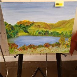"""Folk Art Landscape Oil on Board 16"""" x 20"""""""