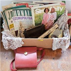 Tray Lot: Ladies Grouping: Magazines, Purses, Pattern Catalogs, etc
