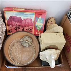 Tray Lot: Moccasins, Puzzle, Bowls, Hoop Towel Holder, etc