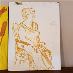 Original Art - Lady in Chair w/Book (Unfinished) by Mary Borgstrom (From Potters House)