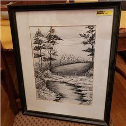 "Framed Art : Pen & Ink Landscape - Artist: Merlyn Davidson 1978 ""The Creek"""