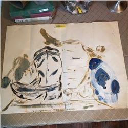Original Art - Still Life - Cowboy Boot, Pot, Bird - Mary Borgstrom (Unsigned)