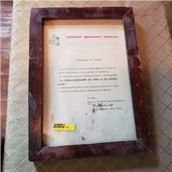 Vintage Provost Municipal Hospital Framed Notice