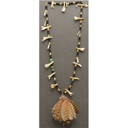PLAINS INDIAN TRADE BEAD AND TOOTH NECKLACE