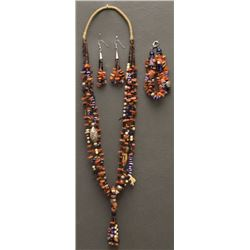 PUEBLO INDIAN NECKLACE EARRINGS AND BRACELET (MARY CORIZ)