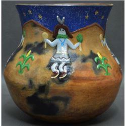 NAVAJO INDIAN POTTERY JAR (Elizabeth Manygoats)