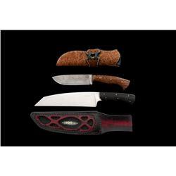 Lot of 2 Custom Fixed Blade Knives