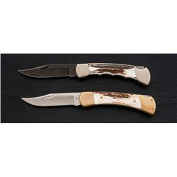 Lot of 2 Stag-Handled Buck 110 Knives