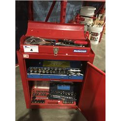 MASTERCRAFT ROLLING TOOL CHEST & SMALL TOOLBOX WITH ASSORTED TOOLS & SOCKET SETS