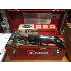 OMARK 330 & REMINGTON POWER HAMMER CONCRETE GUNS WITH RED TOOLBOX OF ACCESSORIES