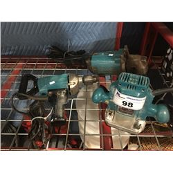 3 MAKITA POWER TOOLS GRINDER/DRILL & ROUTER