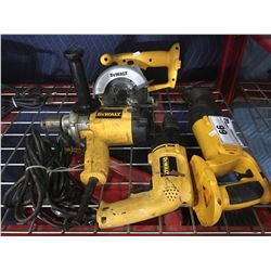 4 DEWALT POWER TOOLS - 2 ELECTRIC DRILLS/SAW/RECIPROCATING SAW (NO BATTERY OR CHARGER FOR CORDLESS)