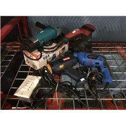 4 ASSTD POWER TOOLS - GRINDER/SANDER & 2 DRILLS - MASTERCRAFT, RYOBI ETC