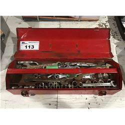 SMALL RED TOOLBOX & CONTENTS - COMBINATION WRENCHES, SOCKET SETS ETC