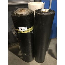 2 ROLLS OF TORCH-ON ROOFING MATERIAL & SMALL ROLL OF WHITE FOAM UNDERLAY