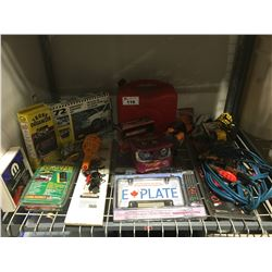 LARGE SHELF LOT OF VEHICLE ACC. - JUMPER CABLES/JERRY CANS/ROADSIDE KIT/E PLATE/REMOTE STARTER ECT.