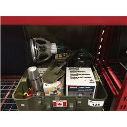MILITARY GREEN STORAGE BOX WITH ASSTD CAMPING EQUIPMENT - LANTERNS/HEATERS/THERMOS ETC