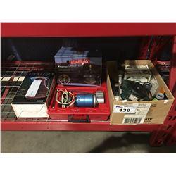 GROUP OF ASSTD ITEMS - LANTERN/OUTDOOR TABLE FIRE BOWL/PORTABLE AIR COMPRESSOR/BOX OF LAWN & GARDEN