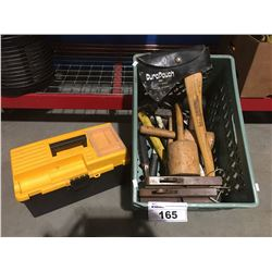 BOX OF ASSTD HAMMERS, HATCHETS, WOOD WORKING TOOLS & BLACK & YELLOW TOOLBOX & CONTENTS