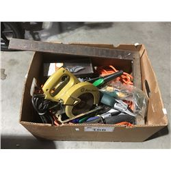 BOX OF TOOLS, GARDEN TOOLS, EXTENSION CORD, ETC.
