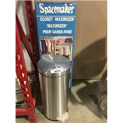 STAINLESS STEEL GARBAGE CAN & SPACESAVER CLOSET MAXIMIZER