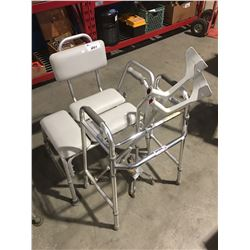 5 PIECES MEDICAL ASSIST EQUIPMENT - SHOWER BENCH SEAT, WALKER ETC