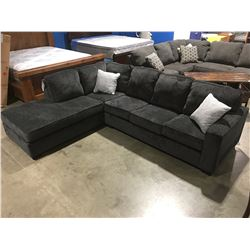 2 PCE DARK GREY UPHOLSTERED SECTIONAL SOFA WITH 2 THROW CUSHIONS