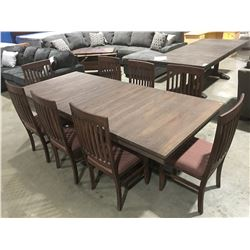 DRIFTWOOD OAK DINING TABLE WITH 2 LEAVES & 8 CHAIRS