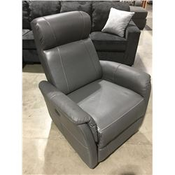 GREY LEATHER POWER RECLINER