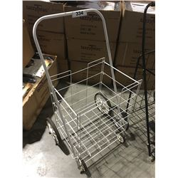WHITE METAL 4-WHEEL FOLDING SHOPPING CART