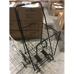 BLACK METAL 4-WHEEL FOLDING SHOPPING CART