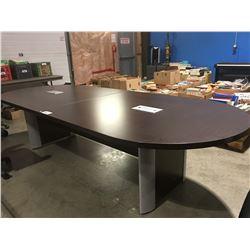 CONTEMPORARY MOCHA FINISH BOARDROOM TABLE MEASURES 10' X 4'