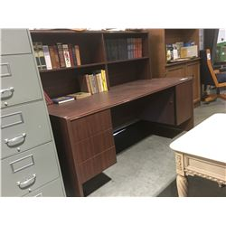 DOUBLE PEDESTAL EXECUTIVE OFFICE DESK WITH HUTCH