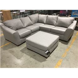 4 PCE SILVER/GREY UPHOLSTERED SECTIONAL SOFA WITH OTTOMAN