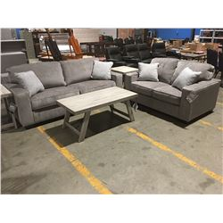 2 PCE GREY UPHOLSTERED SOFA & LOVE SEAT SET WITH 4 THROW CUSHIONS