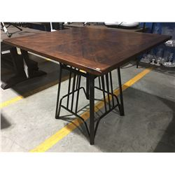 CONTEMPORARY COUNTER HEIGHT DINING TABLE - WOOD TOP WITH BLACK METAL BASE
