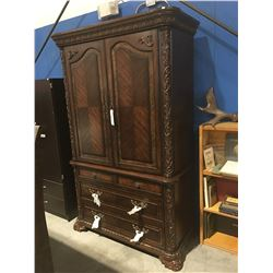 APPROX 7' TALL MAHOGANY BEDROOM ARMOIRE DRESSER