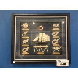 NAUTICAL THEMED SHADOW BOX ASSTD KNOTS & TALL SHIP