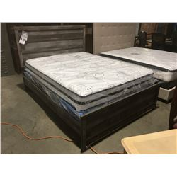 QUEEN SIZE CONTEMPORARY GREY FINISH BED (HEADBOARD, FOOTBOARD & RAILS)
