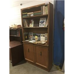 WALNUT SHELVING UNIT WITH BOTTOM CABINET APPROX 6' TALL X 4' WIDE