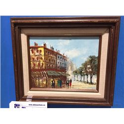 "FRAMED ORIGINAL OIL ON CANVAS PAINTING  MARKET SCENE UNSIGNED 9.5"" X 7.5"""