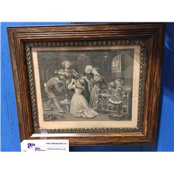 "ANTIQUE FRAMED LITHOGRAPH  PRINT GETTING DRESSED 11.5"" X 9.5"""