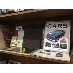 SHELF LOT OF VINTAGE AUTOMOTIVE BOOKS & COLLECTIBLES