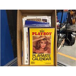 BOX FULL OF ASSTD VINTAGE PLAYBOY PLAYMATE CALENDARS